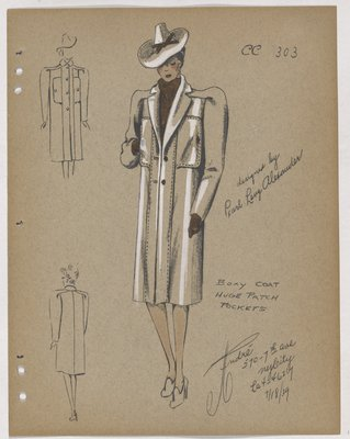 Coat with Huge Patch Pockets at Top, with Brown Scarf and Gloves
