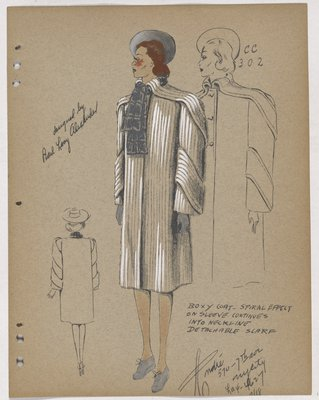 Coat with Spiral Panel on Shoulders and Sleeves, with Grey Accessories