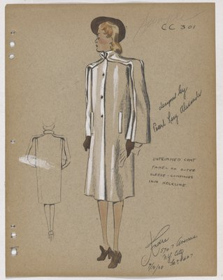 Coat with Panel on Outer Sleeves and Neckline, with Brown Accessories