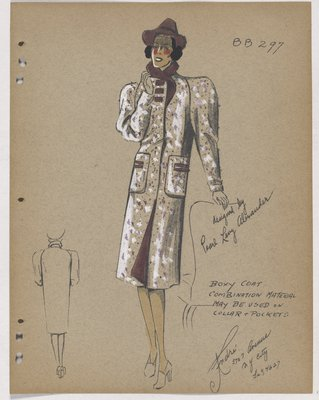 Coat with Purple Collar, Buttons and Hat, with Trim on Pockets