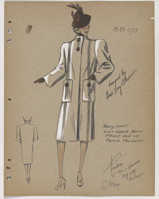 Coat with Patch Pockets and Brown Buttons, Hat and Gloves
