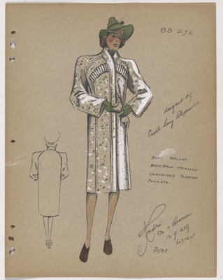 Coat with Cartridge Pleated Pockets and Green Hat and Gloves
