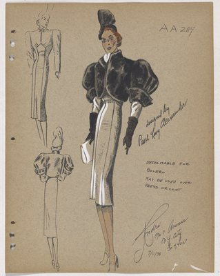Black Fur Bolero Worn over Dress or Coat