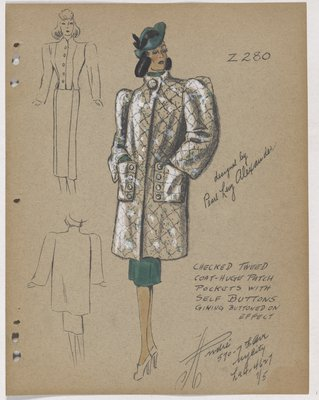 Tweed Coat with Patch Pockets with Buttons on Side, over Green Skirt