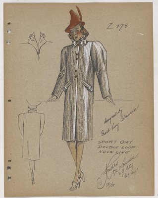 Coat with Lines and Double Loop at Collar and Pockets, with Orange Hat