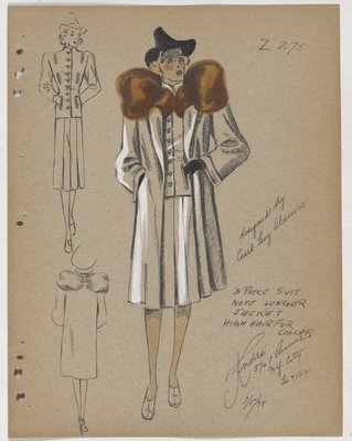 Three-Piece Suit, with Full Skirt and Orange Fur on Topcoat