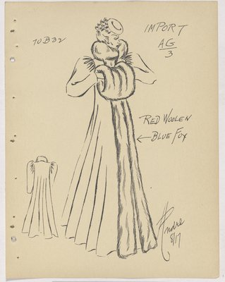 Mainbocher Long Coat with Full Skirt and Fur on Collar and down Front