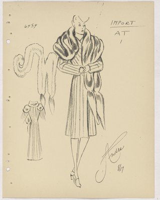 Vionnet Coat with Lines and Fur Piece Wrapped Around Shoulders