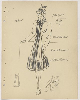 Mainbocher Coat with Velvet on Collar, down Front and at Border