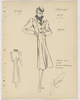 Marcel Dormoy Coat with Fur Collar and Three Buttons down Front