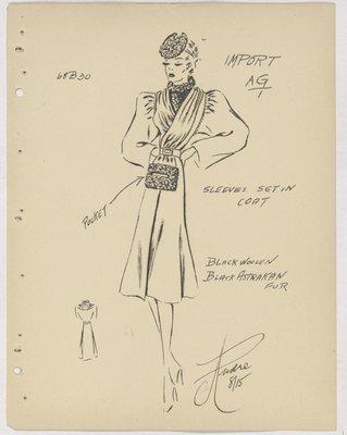 Mainbocher Coat with Fur-Trimmed Pocket at Center of Skirt