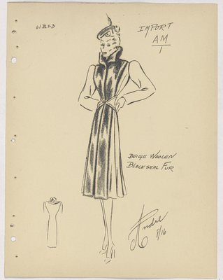 Robert Piguet Coat with Fur Collar and Front