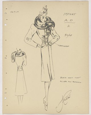 Schiaparelli Coat with Gathering at Waist and Animal Face on Fur Collar