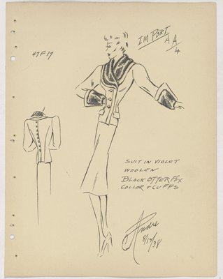 Marcel Rochas Suit with Fur Collar and Cuffs