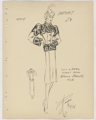 Chanel Suit with Fur Yoke, Upper Sleeve, Cuffs and Hem of Jacket