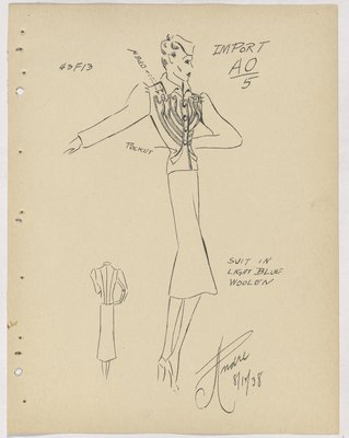Schiaparelli Suit with Diagonal Strips on Jacket