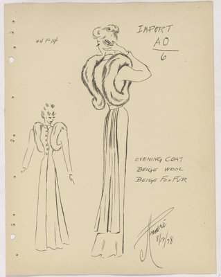 Schiaparelli Evening Coat with Fur Around Armhole
