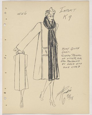 Creed Coat with Fur Collar and Fur down Front, with Cord Tie at Neck