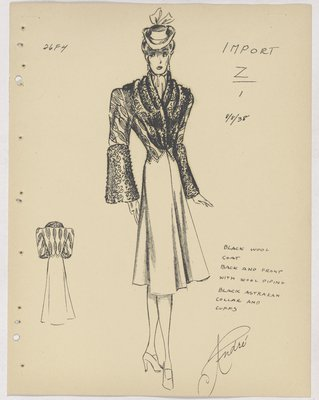 Maggy Rouff Coat with Piping on Top with Fur Collar and Cuffs