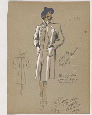 Boxy Coat with Large Patch Pockets, with Blue Hat and Gloves