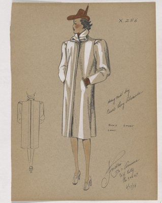 Boxy Coat with Folded Collar and Brown Hat and Gloves