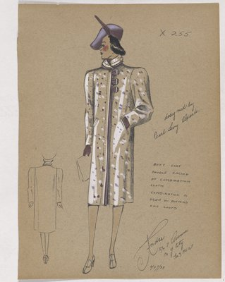 Coat with Purple Trim and Button Loops, with Purple Hat and Gloves