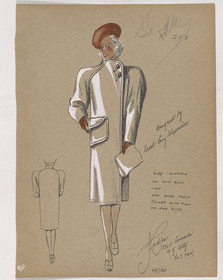 Coat with One Large Patch Pocket and Orange Buttons, Hat and Gloves