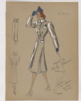 Coat with Four Pockets and Blue Hat, Gloves and Handkerchief