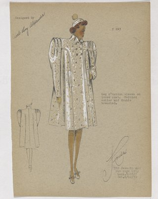 Boxy Coat with Leg of Mutton Sleeves and Folds on Shoulder