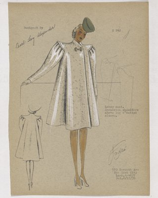 Coat Epaulette Shoulders and Leg of Mutton Sleeve, with Green Hat