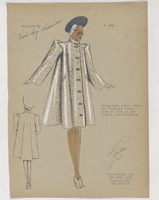 Coat with Buttons down Front and Swing Back, with Blue Hat