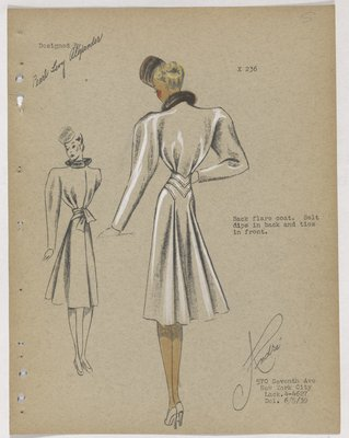 Coat with Belt That Dips at Back and Ties in Front, with Back Flare