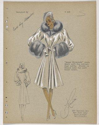 Queen Elizabeth Coat with Grey Fur Collar and Cuffs