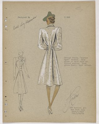 Tweed Coat with Bustle Back Effect and Green Hat