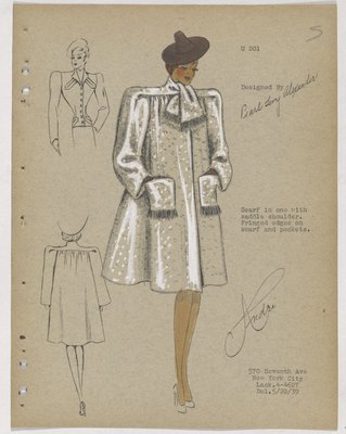 Coat with Fringe on Pockets and Built-In Scarf, with Brown Hat