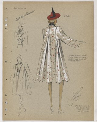 Coat with Pleats at Sides and Back, with Red Hat