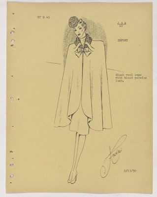 Balenciaga Cape with Fur Collar and Bow at Neck