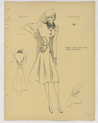 Balenciaga Coat with Fur Collar and Looped Stitching at Waist