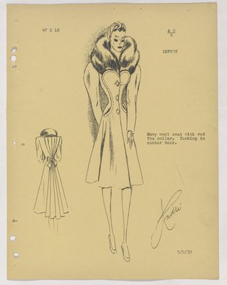 Schiaparelli Coat with Fur Collar and Diamond-Shaped Buttons