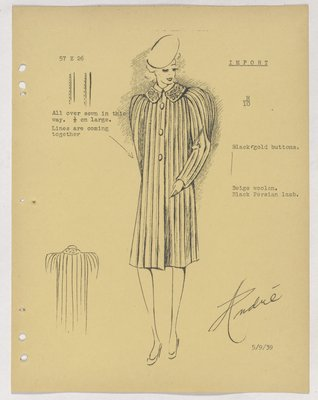 Bruyere Coat with Vertical Lines and Stitching and Three Buttons