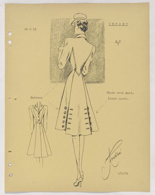 Schiaparelli Coat with Two Sets of Buttons at Back Panel of Skirt