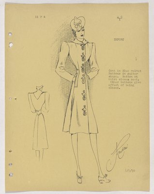 Schiaparelli Coat with Guitar-Shaped Buttons down Front