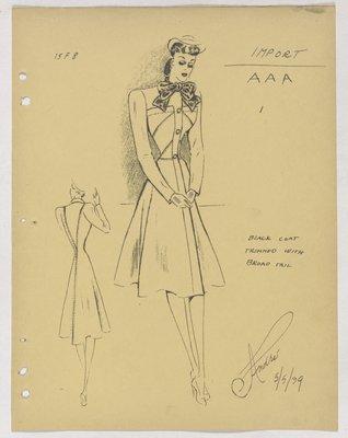 Balenciaga Coat with Bow at Neck and Diagonal Stitching at Top