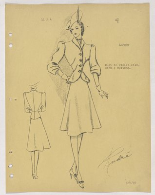 Schiaparelli Suit with Stitching on Top and Sleeve and Corozo Buttons