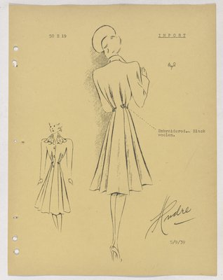 Schiaparelli Coat with Embroidered Arrows at Waist