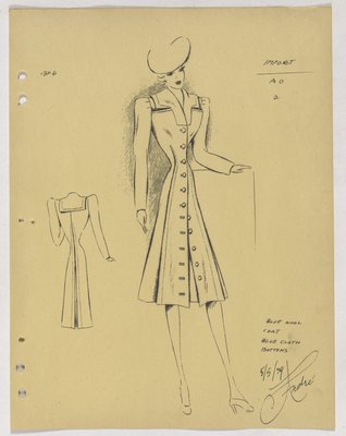 Schiaparelli Coat with Buttons down Front and Sailor Collar at Back