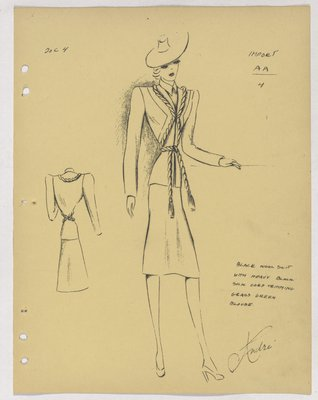 Marcel Rochas Suit with Heavy Cord Trimming Tied at Waist