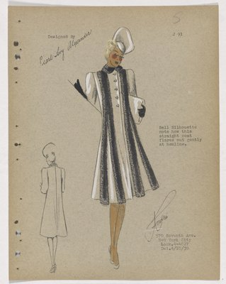 Coat with Bell Silhouette and Black Fur Bands down Front