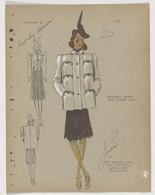 Jacket with Six Pockets over Brown Skirt, with Brown Hat