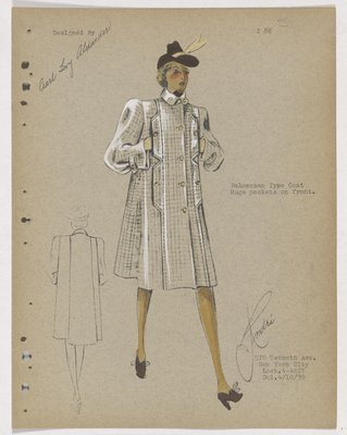 Checkered Coat with Huge Vertical Pockets, with Brown Hat